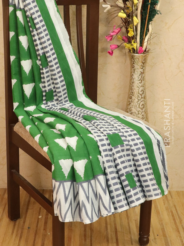 Jaipur Cotton Saree green and off white with geometric pattern