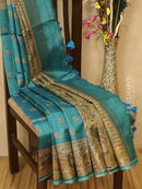 Pure tussar silk saree peacock blue and beige with allover madhubani prints and simple border