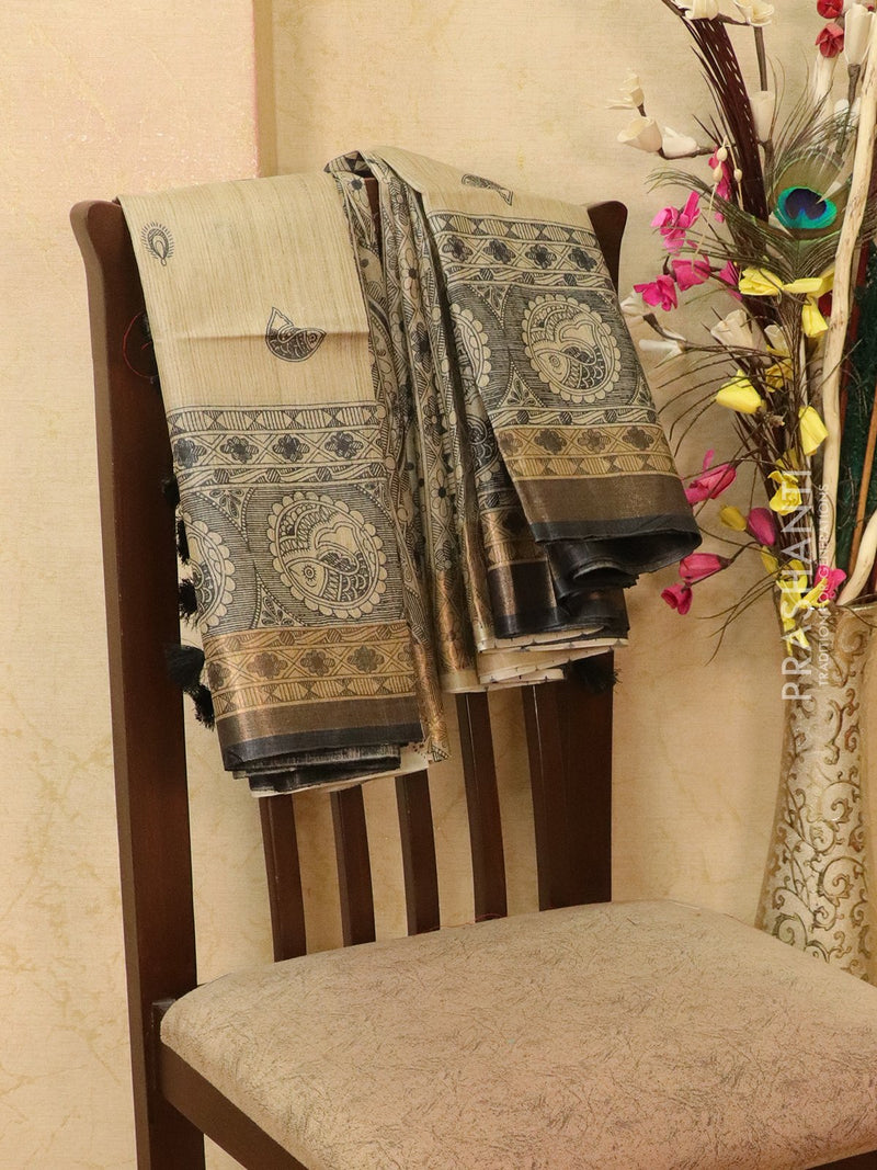 Pure tussar silk saree beige and black with allover madhubani prints and simple border