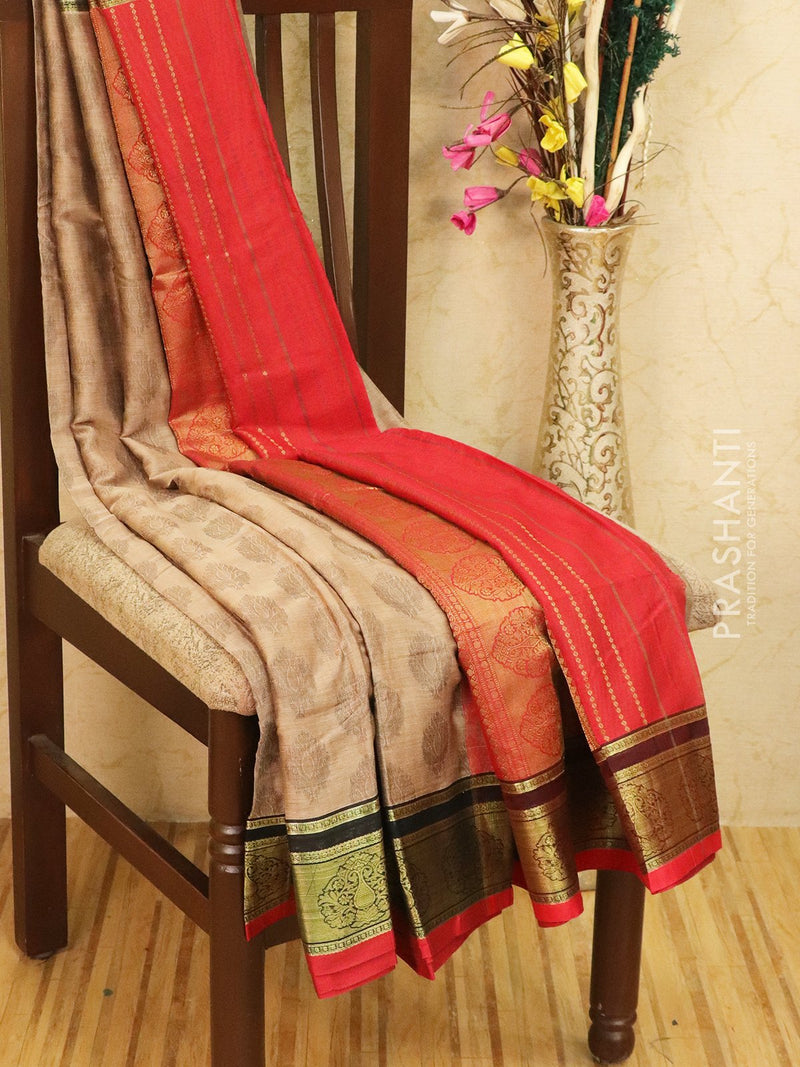 Semi silk saree chikoo and red with self emboss and zari border