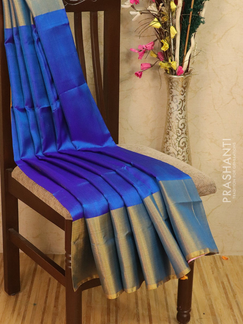 Pure Uppada silk saree blue and mustard with zari woven buttas and rich zari border