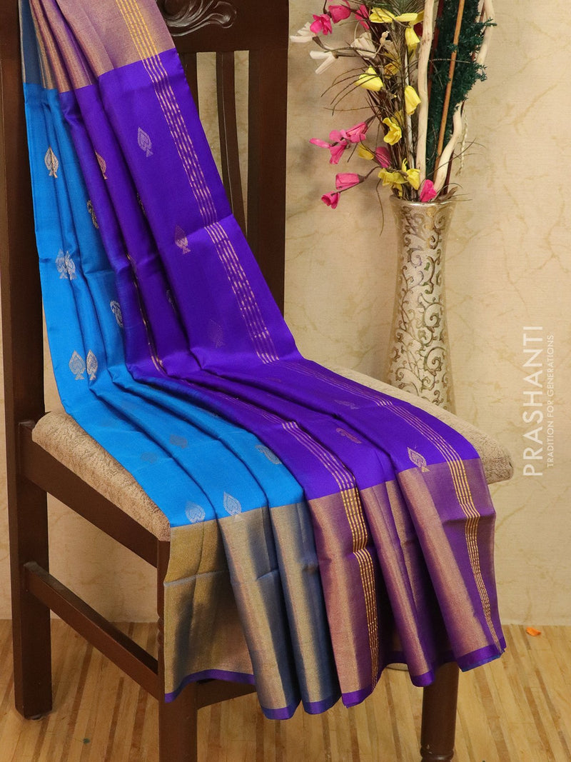 Pure Uppada silk saree blue and violet with zari woven buttas and rich zari border