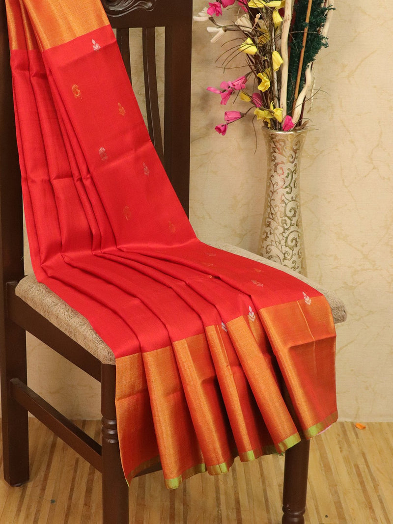 Pure Uppada silk saree red and green with zari woven buttas and rich zari border