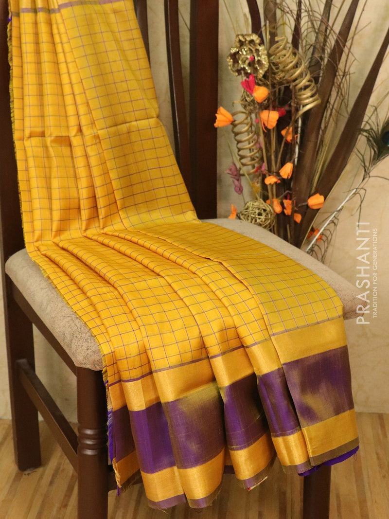 Pure Uppada silk saree yellow and violet checked pattern with rettapet zari border
