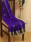 Pure Uppada silk saree blue with silver zari border and coin buttas