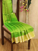 Pure Uppada silk saree green with silver zari border and coin buttas