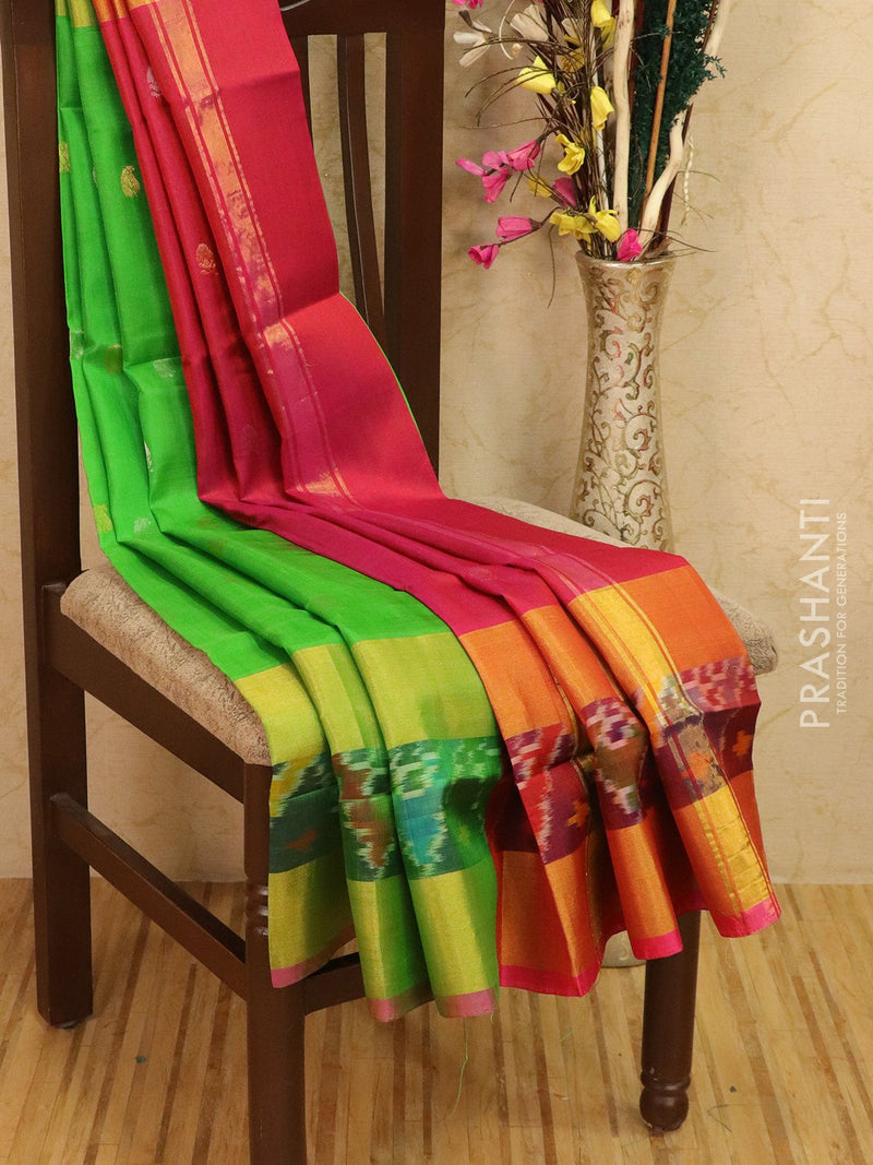 Pure Uppada silk saree green and pink with ikat woven border and body buttas