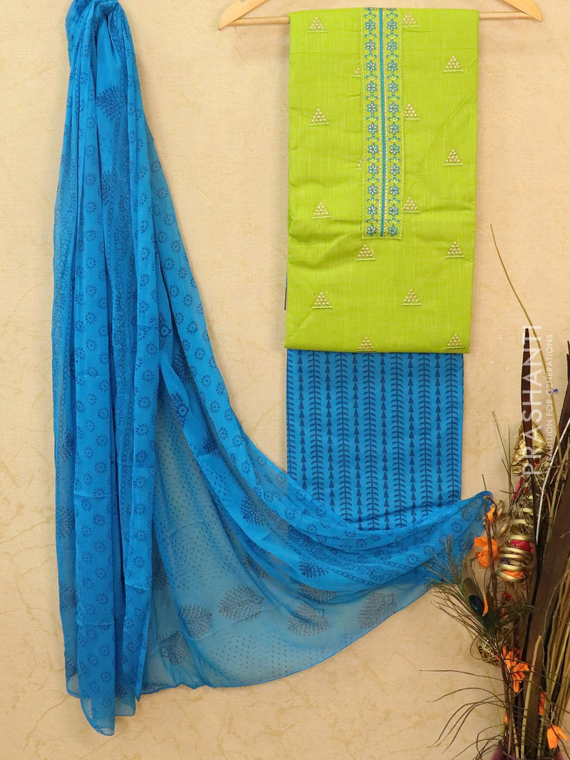 Cotton dress material green and blue with embroided top and duapatta