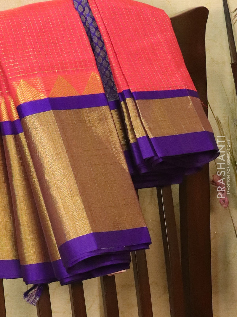 Kuppadam silk cotton saree tomato pink and violet with zari checked body and temple border