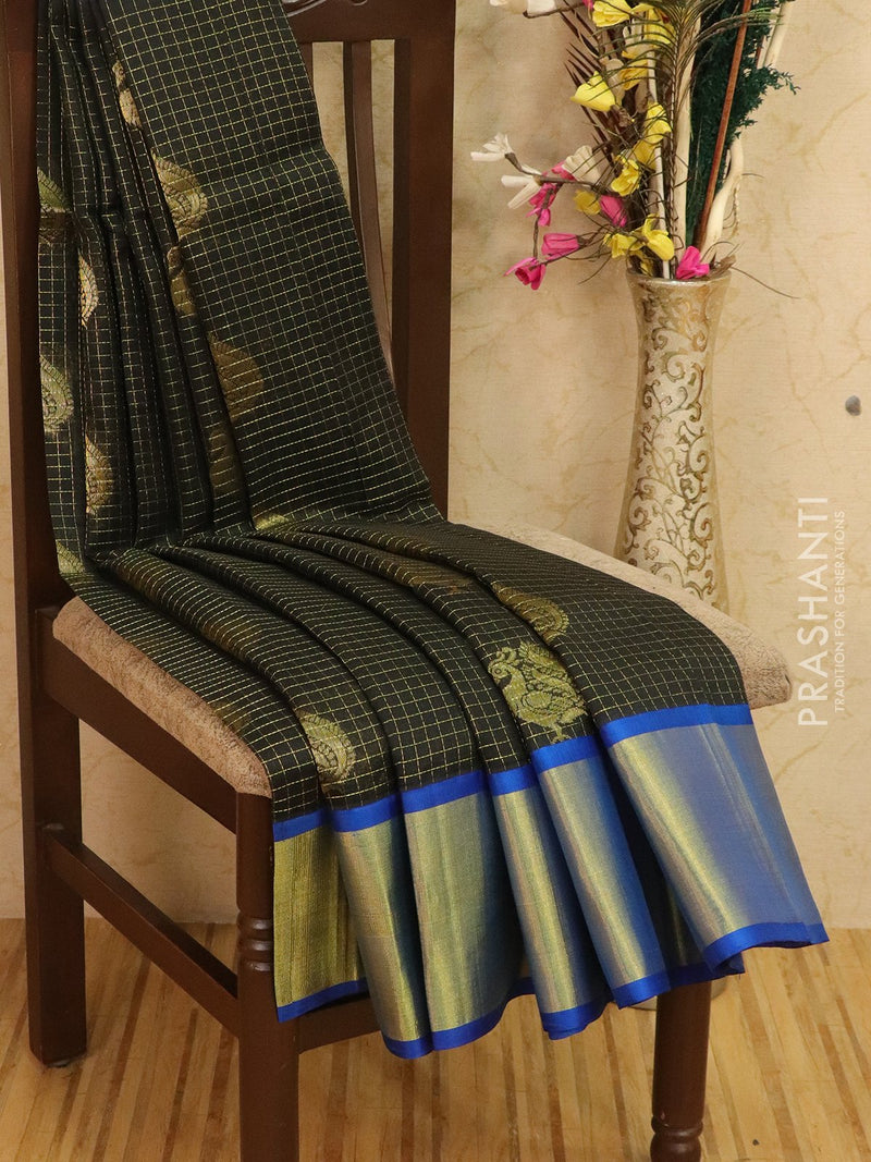 Kuppadam silk cotton saree black and cs blue with zari checks and woven buttas with zari border