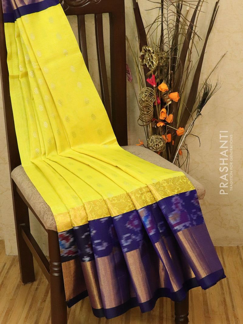 Kuppadam silk cotton saree yellow and blue with zari buttas and rich zari ikkat border