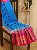 Kuppadam silk cotton saree cs blue and pink with zari woven buttas and ikat border