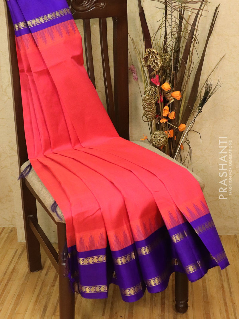 Kuppadam silk cotton saree pink and violet with thread woven temple rettapet border