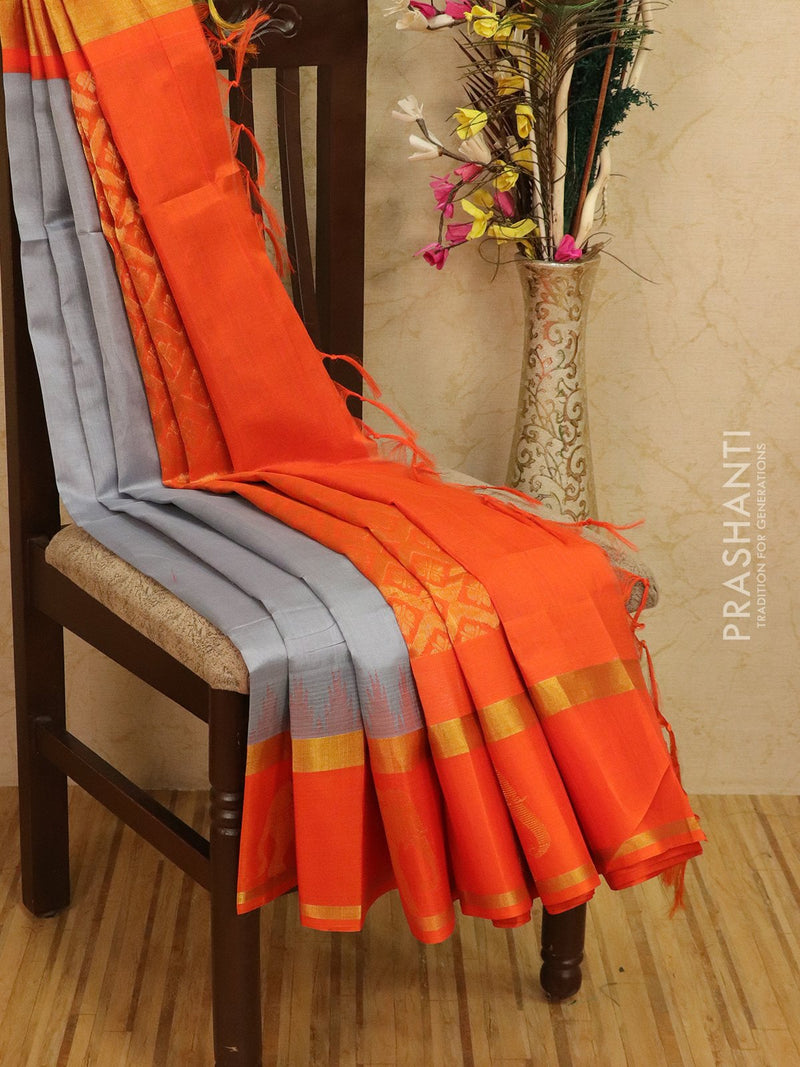 Kuppadam silk cotton saree grey and orange with zari woven butta border