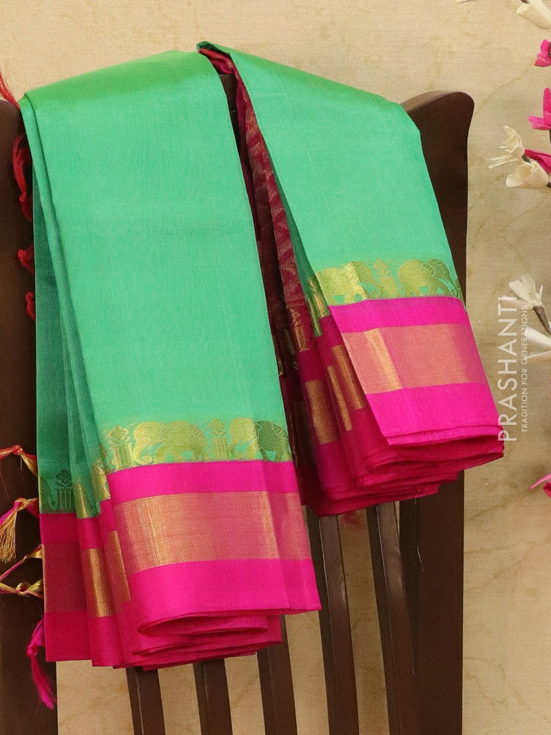 Kuppadam silk cotton saree teal and pink with zari woven rich border