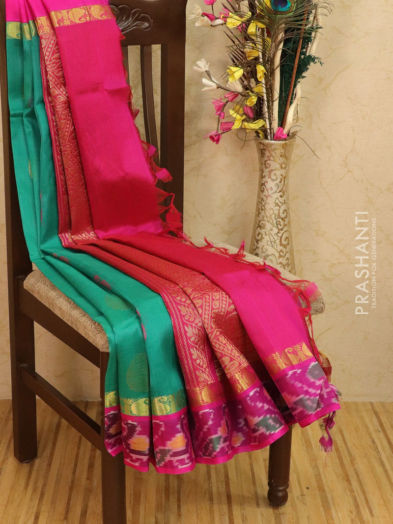 Kuppadam silk cotton saree green and pink with thread and zari buttas with ikkat border