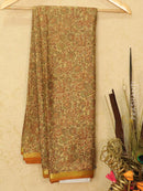 Semi crepe saree beige and mustard with all over prints and zari border