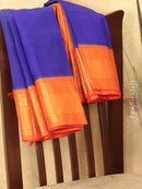 Kuppadam silk cotton saree blue and orange with rich zari woven border
