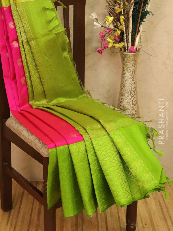 Kuppadam silk cotton saree pink and green with zari woven buttas and rich border