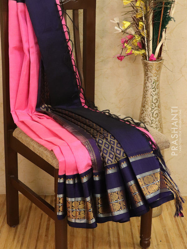 Kuppadam silk cotton saree pink and navy blue with gold and silver zari woven border