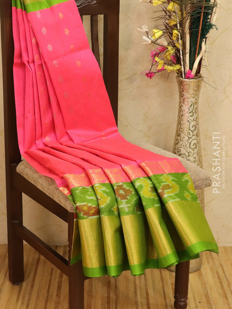 Kuppadam silk cotton saree pink and green with zari woven buttas and ikat border
