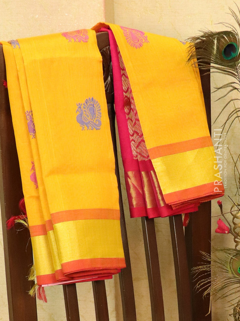 Silk cotton saree mustard yellow and pink with thread woven buttas and border