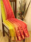 Silk cotton saree lime green and red with zari woven border vairavosi