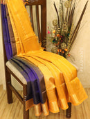 Silk cotton saree blue and mustard with zari woven border vairavosi