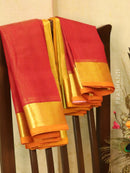 Silk cotton saree red and mustard with zari woven border vairavosi