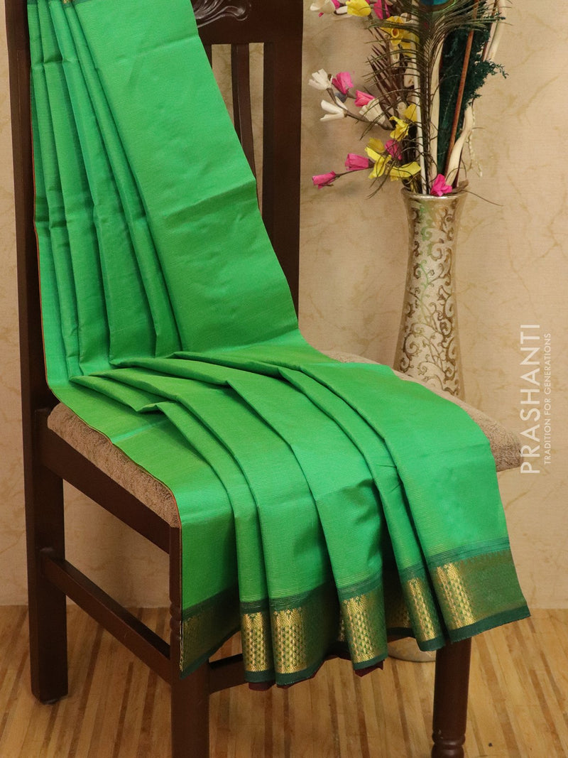 Silk cotton saree teal green and maroon with zari woven border vairavosi