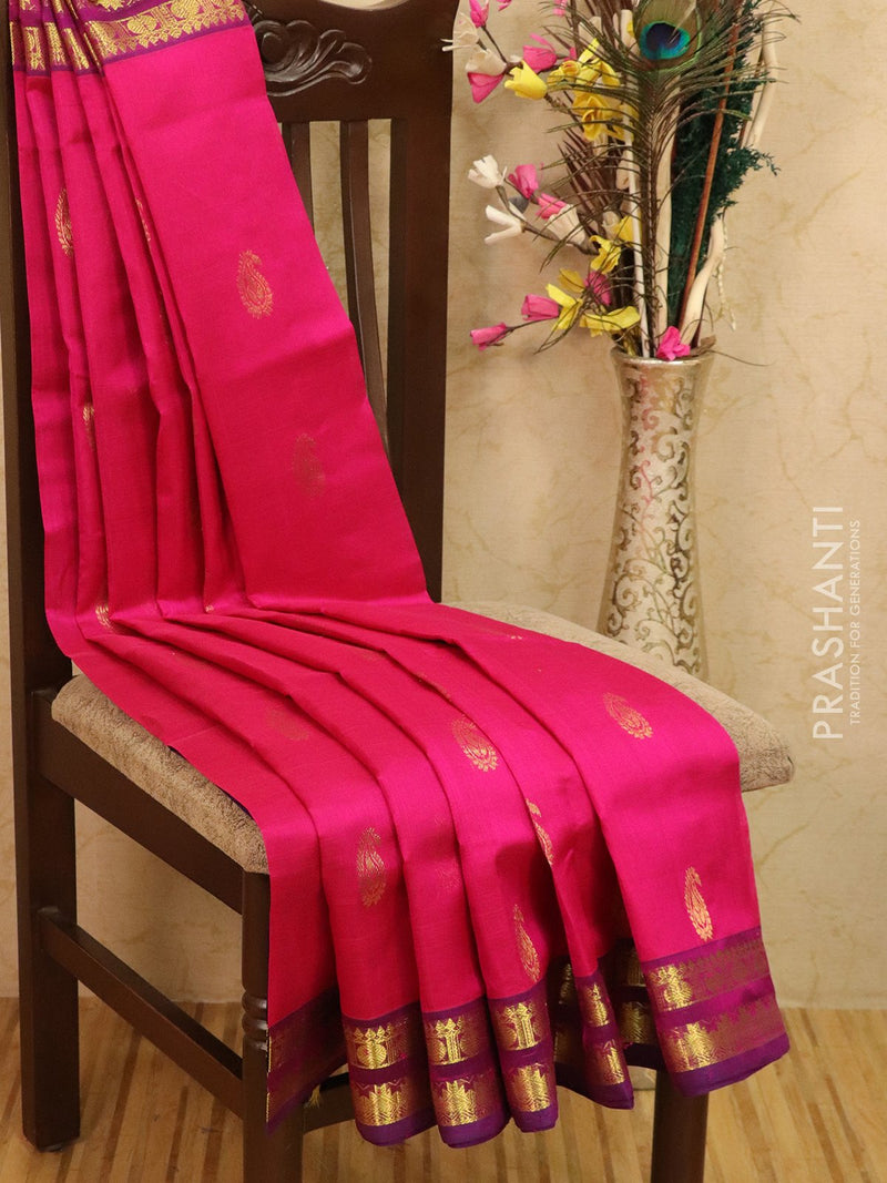 Silk cotton saree pink and violet with zari woven buttas and border