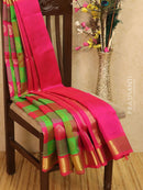 Silk cotton saree green and hot pink paalum pazhamun checks with zari woven butta and border