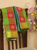 Silk cotton saree multi colour paalum pazhamun checks with zari woven butta and border