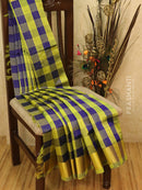 Silk cotton saree blue and lime green with zari checks and zari woven border
