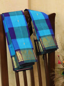 Silk cotton saree blue and violet paalum pazhamun checks with zari woven butta and border
