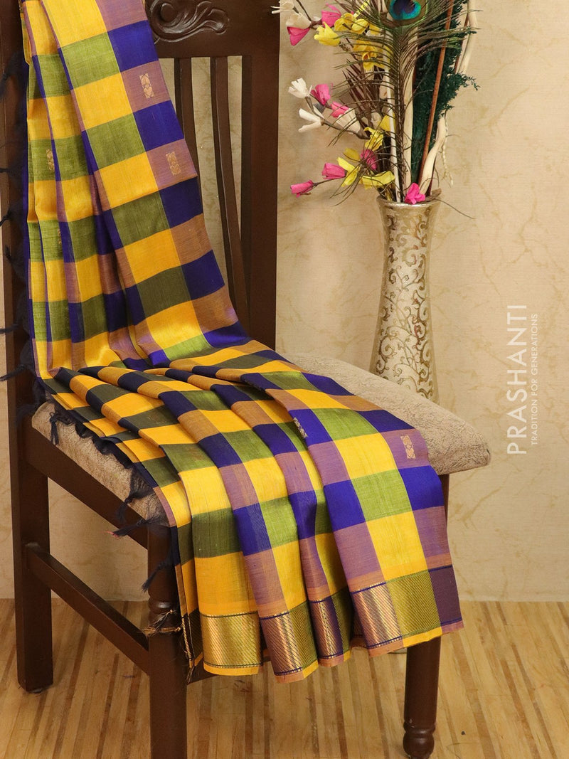 Silk cotton saree yellow and blue paalum pazhamun checks with zari woven butta and border