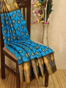 Ikat silk cotton saree cs blue and mehendi green with all over ikat weaves and long zari woven border