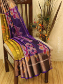 Ikat silk cotton saree mehendi green and violet with all over ikat weaves and long zari woven border