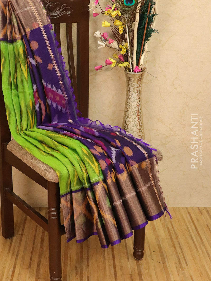 Ikat silk cotton saree green and violet with all over ikat weaves and long zari woven border