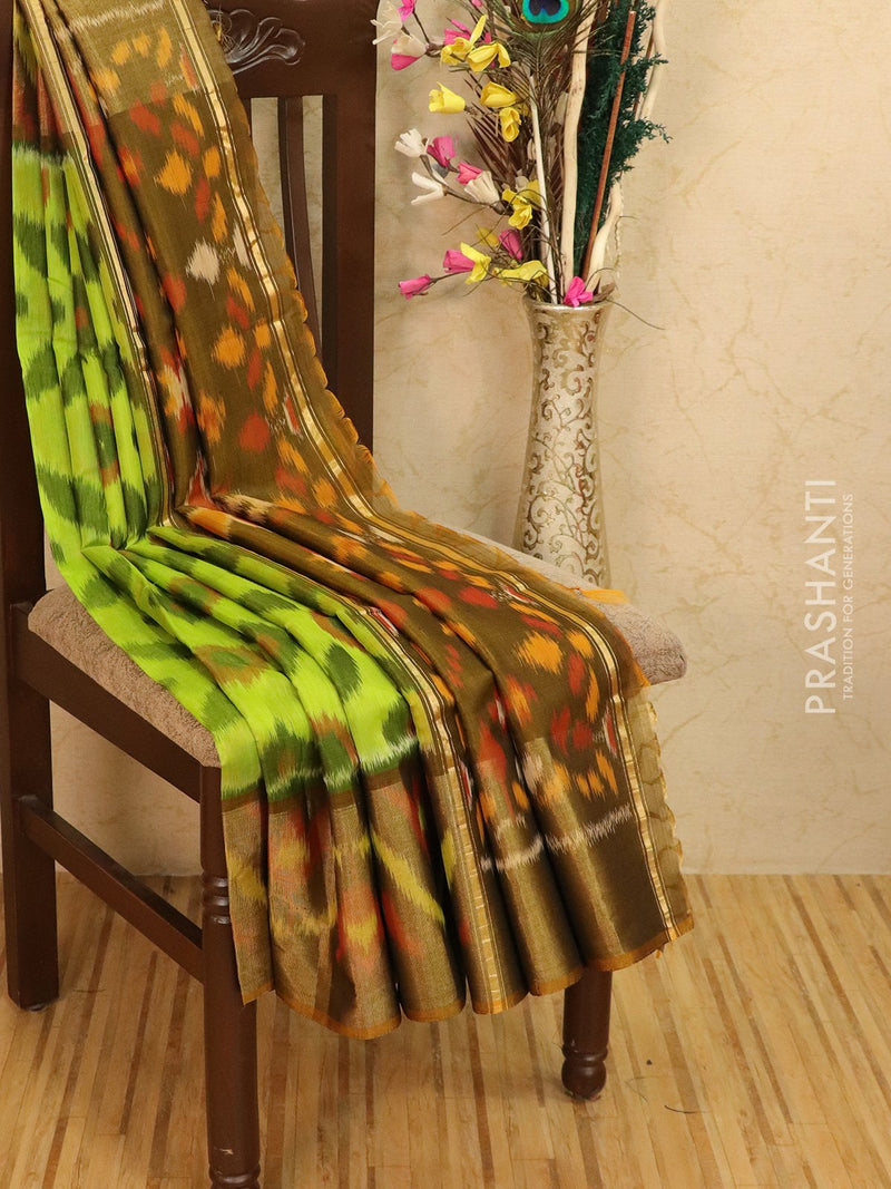 Ikat silk cotton saree green and honey with all over ikat weaves and long zari woven border