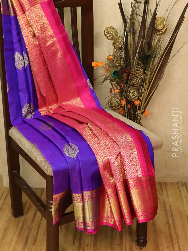 Pure kanjivaram silk saree violet and pink with body checks and buttas in rich zari border