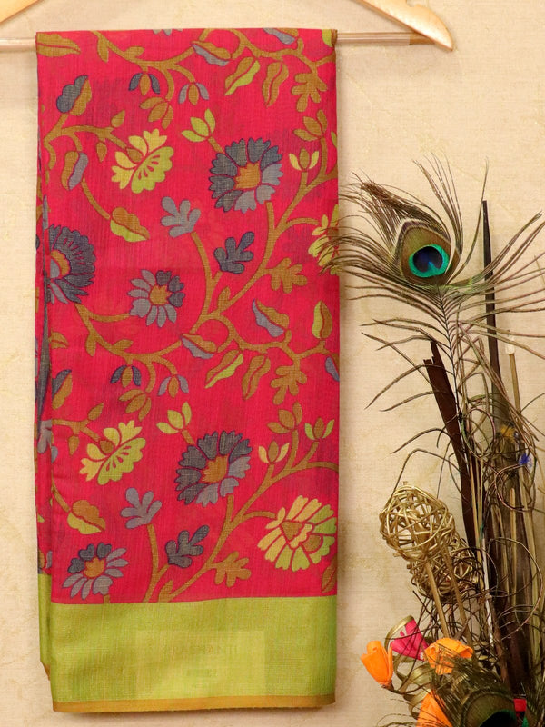 Brasso Saree pink and green with floral weaves for Rs.Rs. 950.00 | Brasso by Prashanti Sarees