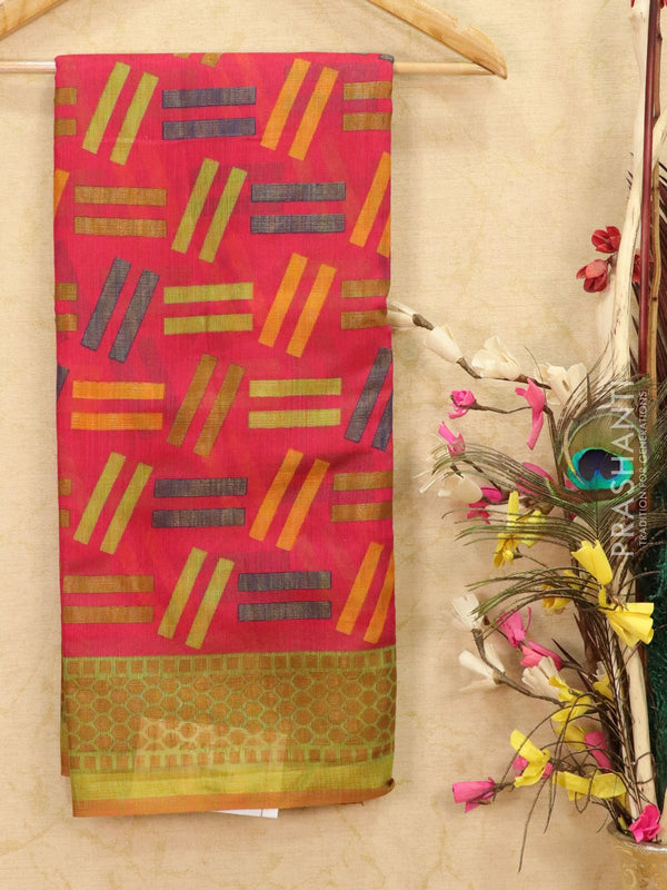 Brasso Saree pink and green with geometric weaves