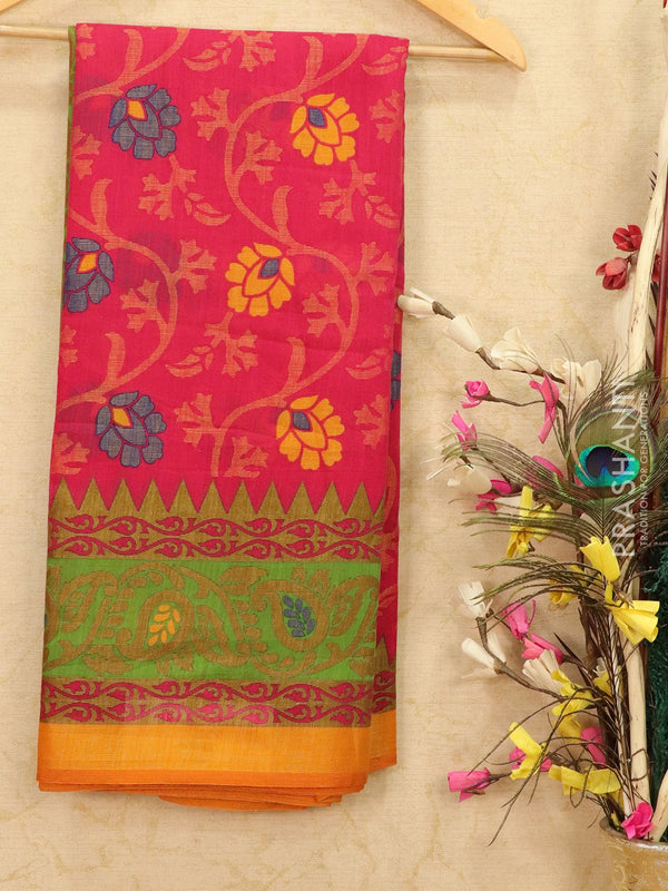 Brasso Saree pink and mustard with floral weaves