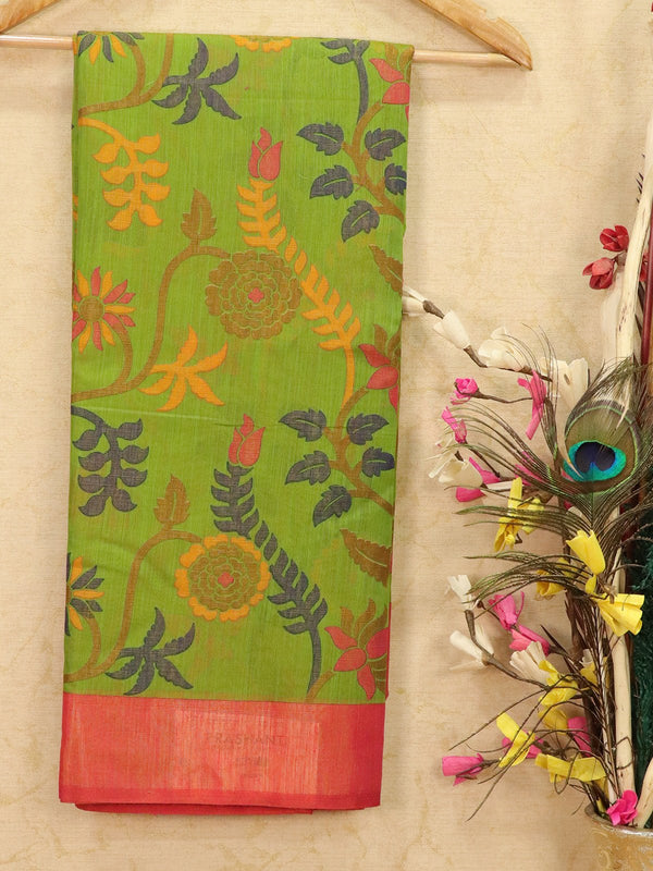 Brasso Saree green and pink with floral weaves