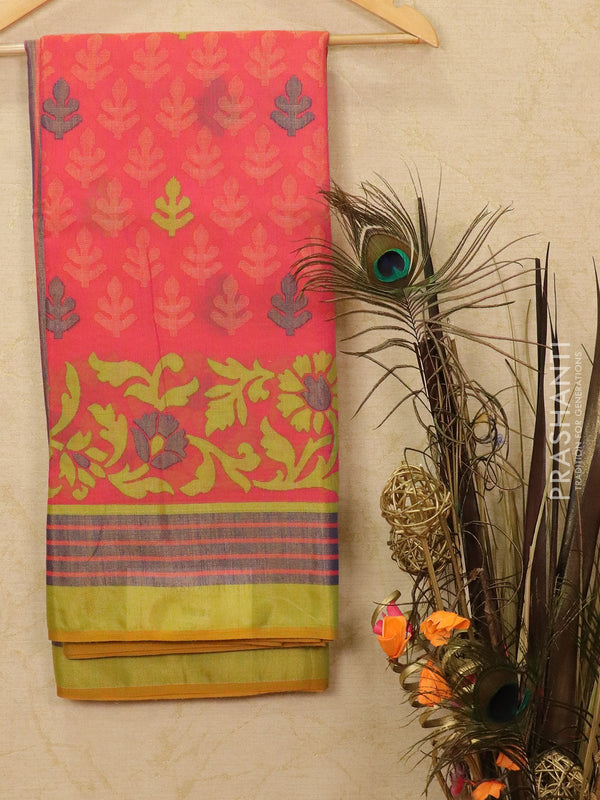 Brasso Saree pink and green with allover weaves