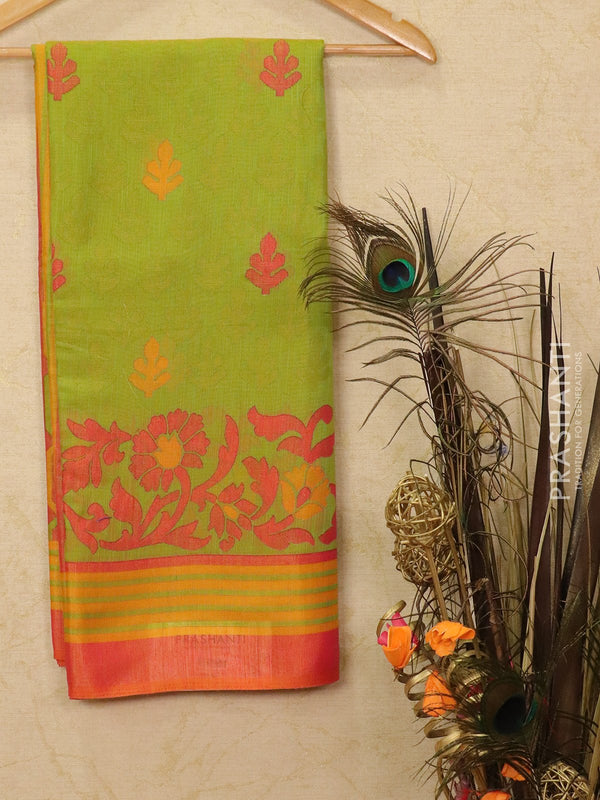 Brasso Saree green and rust with allover weaves