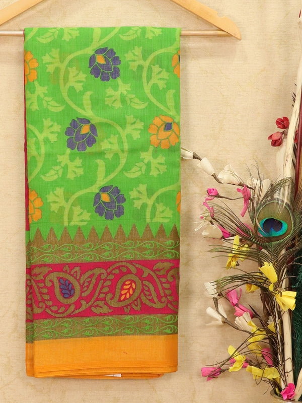 Brasso Saree green and mustard with floral weaves