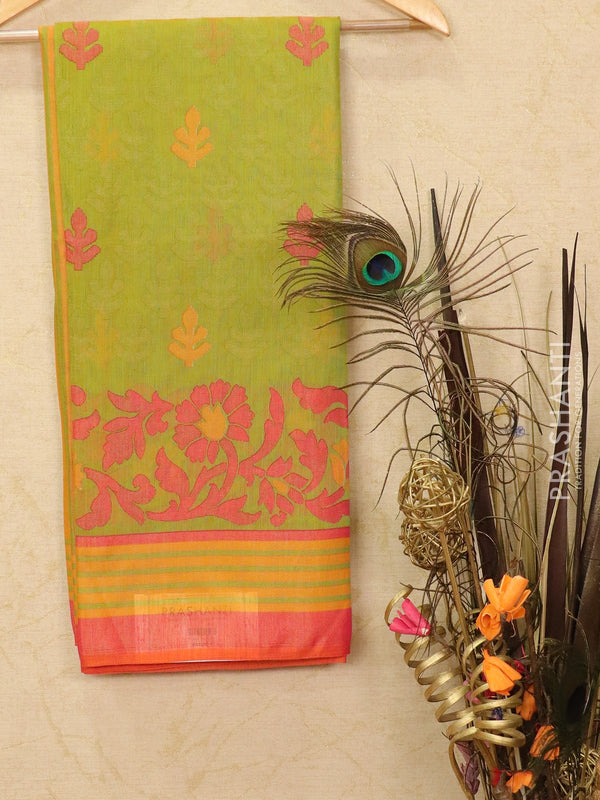 Brasso Saree green and pink with allover weaves