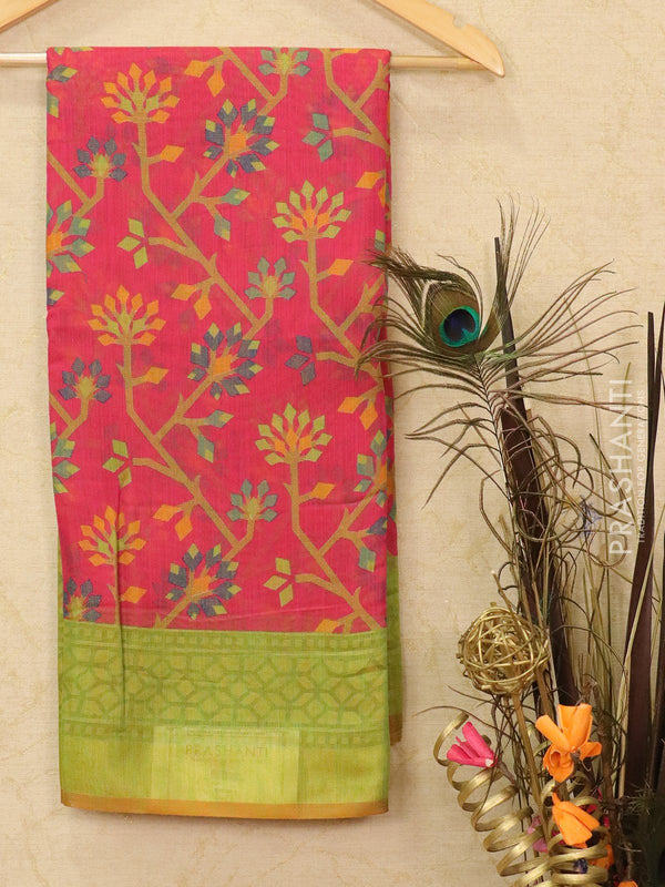Brasso Saree pink and green with floral weaves